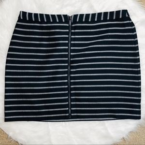 The Limited Navy & Silver Skirt with Zipper Front